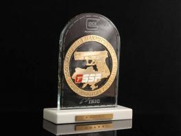 Награды из стекла с металлическим логотипом компании